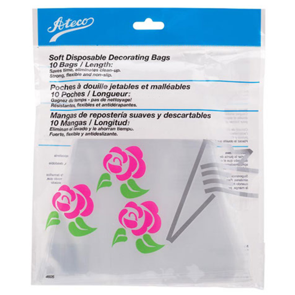 These Ateco USA 4685 18 Inch cake decorating bags are an easy solution for decorating cakes, cupcakes, pastries and more in the commercial bakery or home kitchen. Made of flexible, pliable material, a 4685 pastry bag provides a more secure grip than other slippery disposable pastry bags and it can be used with hot foods as well. To use an Ateco USA 4685 pastry bag, simply cut the end of the bag and insert the pastry tube of your choice. These bags come in a pack of 10.