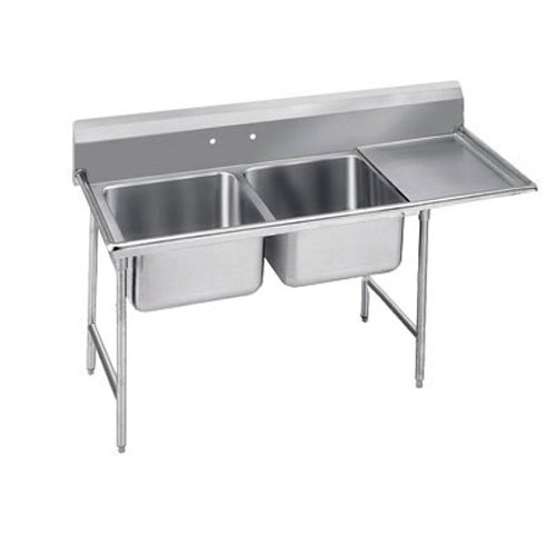 Advance Tabco Regaline Two Compartment Sink, 28 x 20 x 12 Bowls, Right Drainboard, 16/304 S/S, 72 Inches