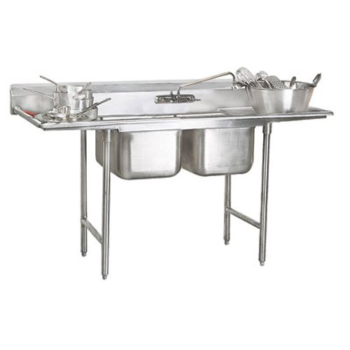 Advance Tabco Regaline Two Compartment Sink, 28 x 20 x 12 Bowls, Two Drainboards, 16/304 S/S, 117 Inches