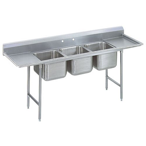 Advance Tabco Regaline Three Compartment Sink, 28 x 20 x 12 Bowls, Two Drainboards, 16/304 S/S, 115 Inches