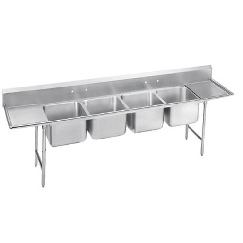 Advance Tabco Regaline Four Compartment Sink, 24 x 24 x 12 Bowls, Two Drainboards, 16/304 S/S, 154 Inches