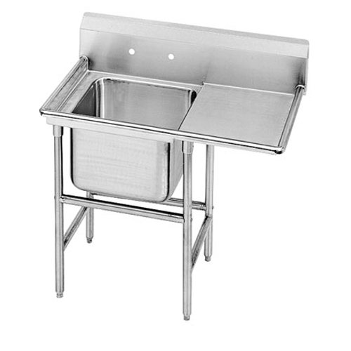 Advance Tabco Regaline One Compartment Sink, 24 x 24 x 14 Bowl, Right 36 Inch Drainboard, 14/304 Stainless Steel