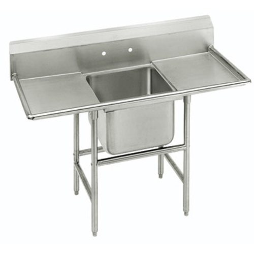 Advance Tabco Regaline One Compartment Sink, 24 x 24 x 14 Bowl, Two 24 Inch Drainboards, 14/304 Stainless Steel