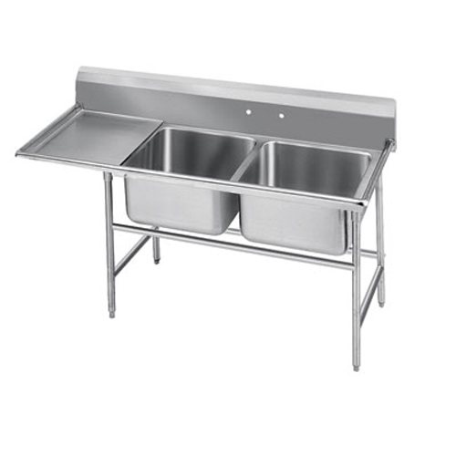 Advance Tabco Regaline Two Compartment Sink, Left Drainboard, 14/304 Stainless Steel, 64 Inches