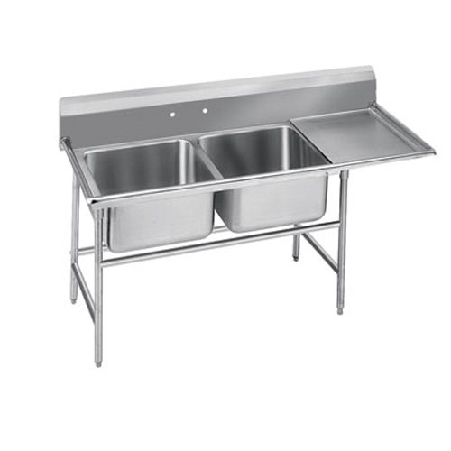Advance Tabco Regaline Two Compartment Sink, 20 x 20 x 14 Bowls, Right Drainboard, 14/304 S/S, 84 Inches