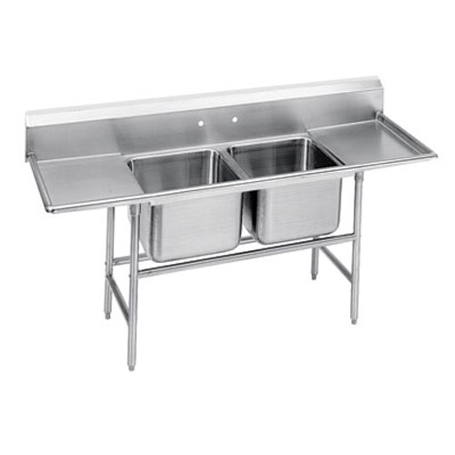 Advance Tabco Regaline Two Compartment Sink, 20 x 20 x 14 Bowls, Two Drainboards, 14/304 S/S, 81 Inches