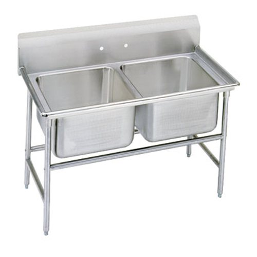 Advance Tabco Regaline Two Compartment Sink, 24 x 18 x 14 Bowls, 14/304 Stainless Steel