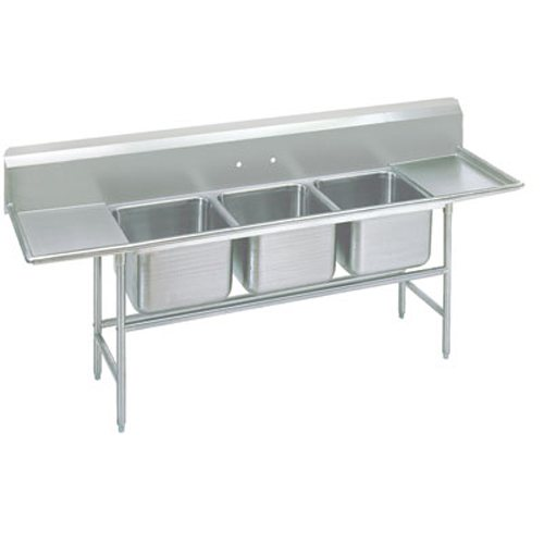 Advance Tabco Regaline Three Compartment Sink, Two Drainboards, 14/304 Stainless Steel, 109 Inches