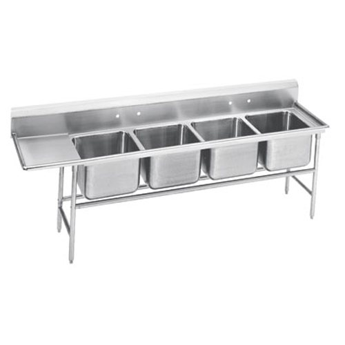 Advance Tabco Regaline Four Compartment Sink, Left Drainboard, 14/304 Stainless Steel, 95 Inches