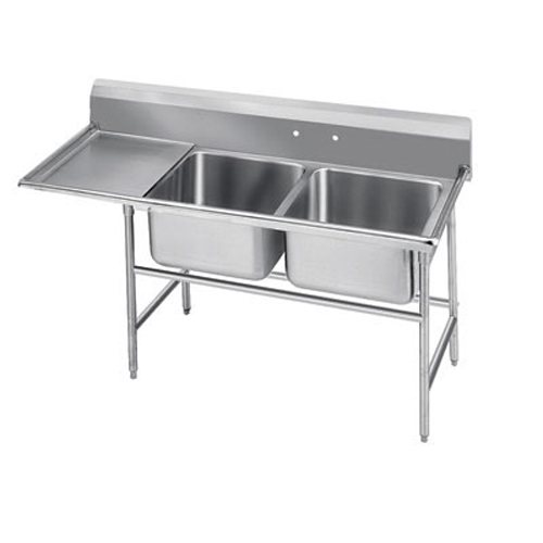 Advance Tabco Regaline Two Compartment Sink, Left Drainboard, 18/304 Stainless Steel, 92 Inches