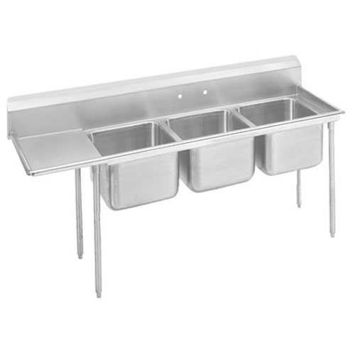 Advance Tabco Regaline Three Compartment Sink, 20 x 16 x 12 Bowls, Left Drainboard, 18/304 S/S, 95 Inches