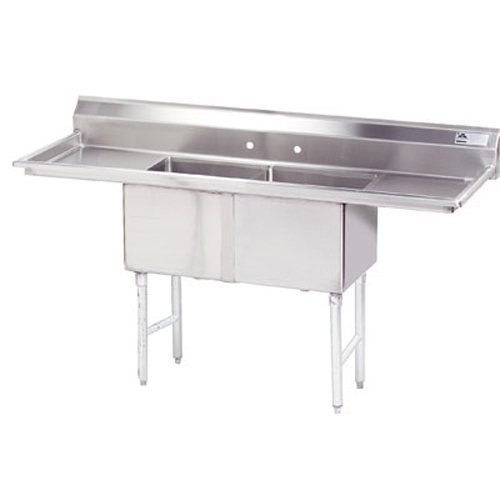 Advance Tabco Fabricated 2 Compartment Sink, Two Drainboards, 18 x 24 x 14 Bowls, 16/304 Stainless Steel - Part No -  FC-2-1824-18RL-X