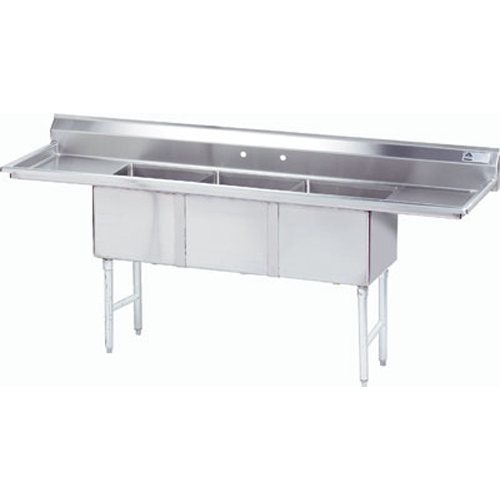 Advance Tabco Fabricated 3 Compartment Sink, Two Drainboards, 20 x 30 x 14 Bowls, 16/304 Stainless Steel - Part No -  FC3203024RLX