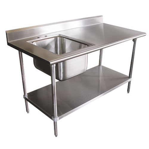 16 Gauge 30 x 60 Stainless Steel Worktable with Left Sink - Part No. - Advance Tabco KMS-11B-305L