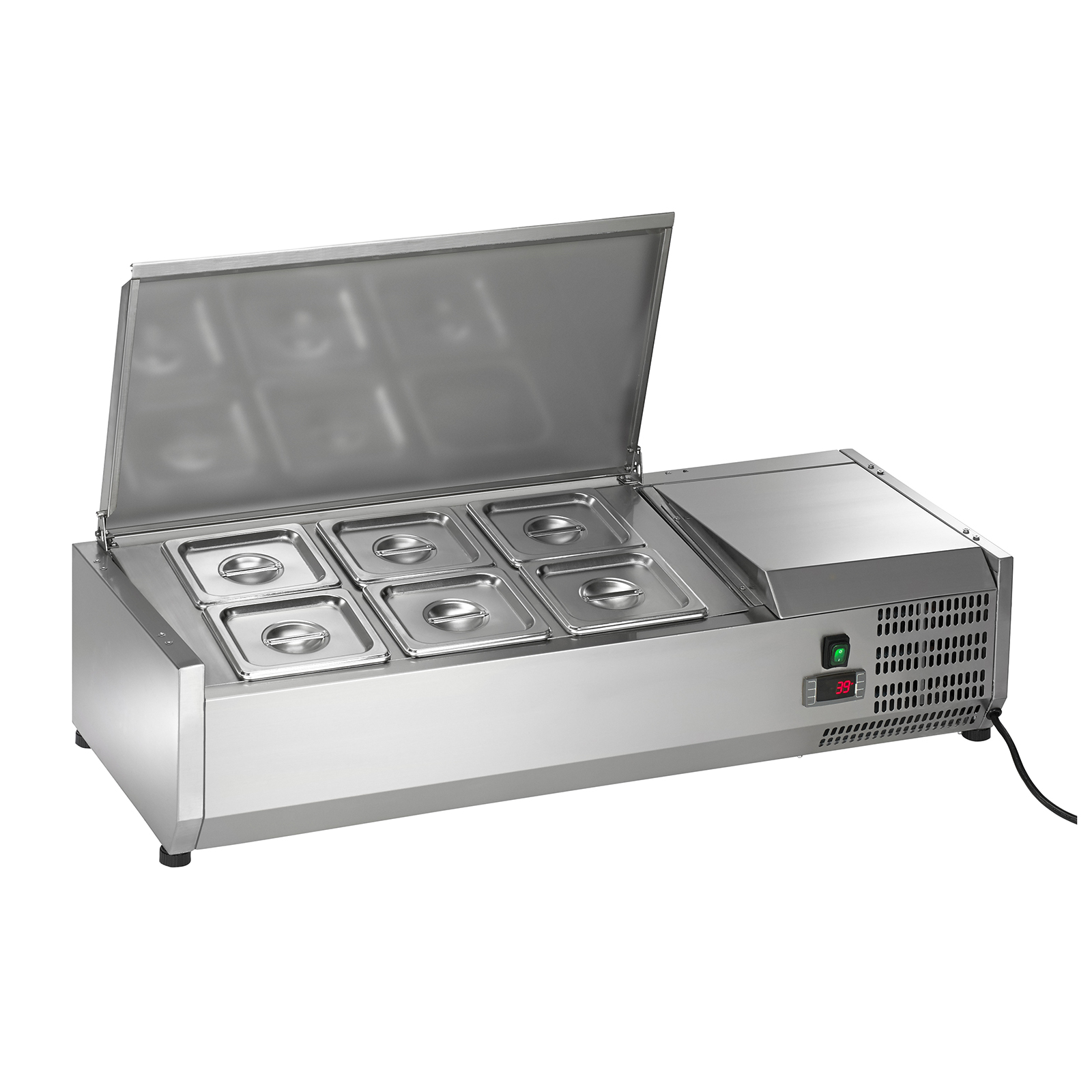The Arctic Air ACP40 refrigerated countertop prep unit measures 40 inches wide and features a 6-pan topping rail to ensure your sandwich and salad ingredients are held at crisp, safe temperatures while on the prep line. The ACP40 commercial prep unit boasts a wide range of features at a superior value. The Arctic Air ACP40 refrigerated prep rail has an attractive, durable smooth stainless steel interior, exterior and lift-up cover. The countertop prep unit maintains a temperature of 33 to 41 degrees Fahrenheit prominently displayed on its bright LED screen. This Arctic Air refrigerated prep unit features scratch resistant plastic fic to protect your counter surface. The ACP40 countertop prep rail offer value and performance for your commercial foodservice.