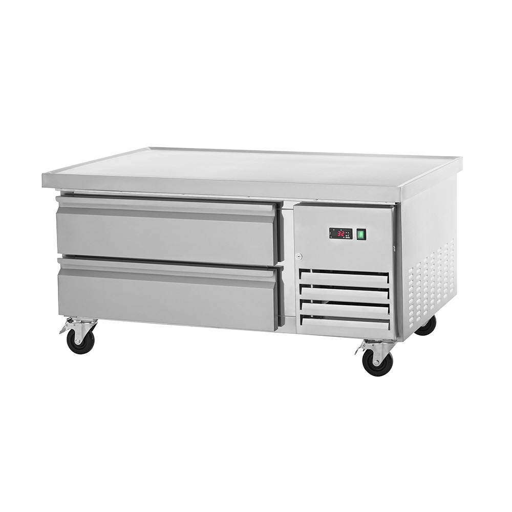 This Arctic Air ARCB48 refrigerated chef base combines commercial foodservice grade performance with exceptional value. The ARCB48 refrigerated chef base features a smooth stainless steel exterior suitable for any commercial kitchen. The 50-inch wide stainless steel top is insulated, eliminating heat transfer from equipment stored on top to the interior of the cabinet. The top has a marine edge to contain spills. The Arctic Air ARCB48 chef base has two drawers with stainless steel facings, linings and frames and each door features removable magnetic gaskets for sanitation purposes. The Arctic Air ARCB48 refrigerated chef base features a self-contained capillary tube system that uses environmentally friendly CFC refrigerant and a front-accessible condensing unit for easy cleaning and maintenance. The front breathing design allows for flexible installation options and its electrical thermostat has an easy to read external LED display for quick and easy temperature monitoring.