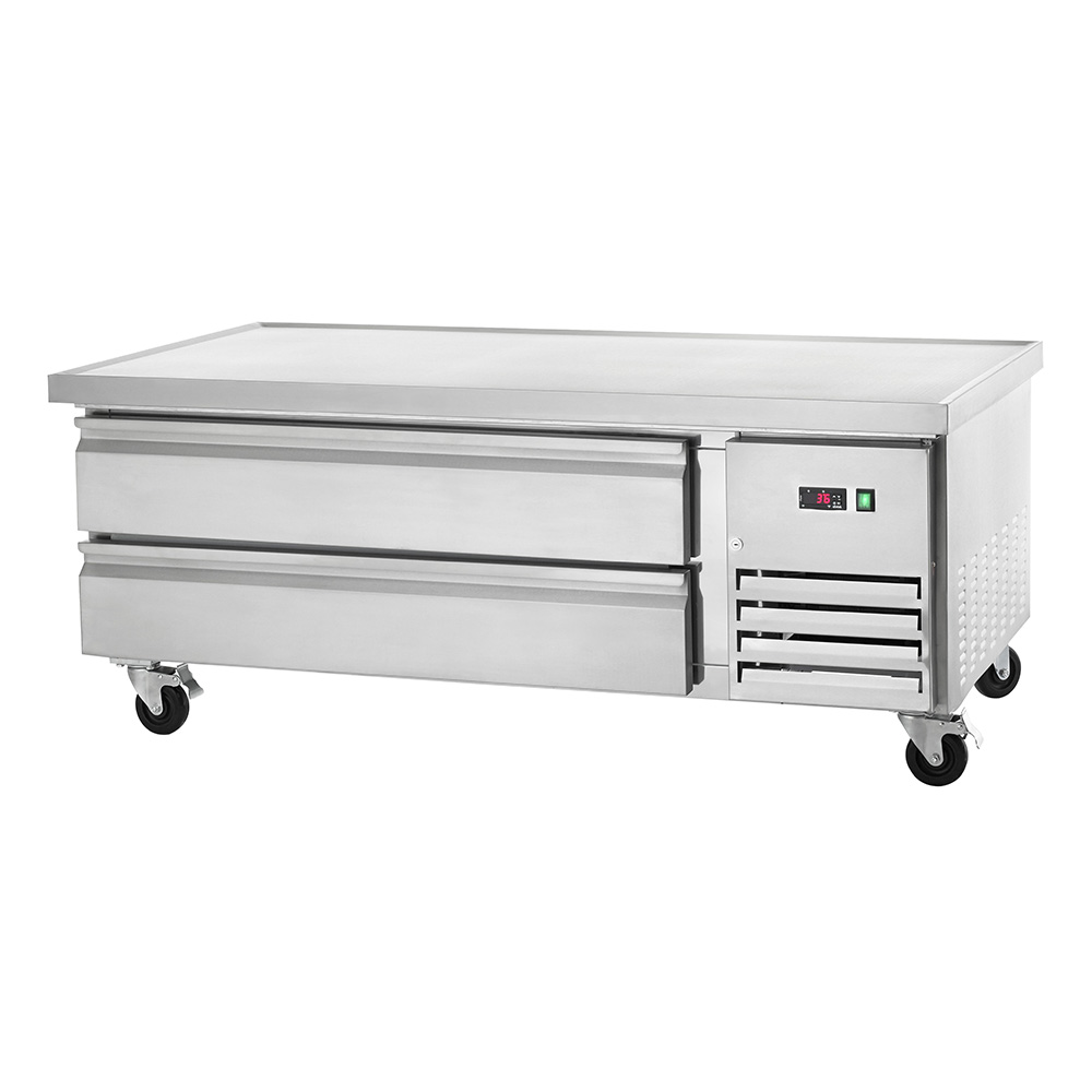 This Arctic Air ARCB60 refrigerated chef base combines commercial foodservice grade performance with exceptional value. The ARCB60 refrigerated chef base features a smooth stainless steel exterior suitable for any commercial kitchen. The 62-inch wide stainless steel top is insulated, eliminating heat transfer from equipment stored on top to the interior of the cabinet. The top has a marine edge to contain spills. The Arctic Air ARCB60 chef base has two drawers with stainless steel facings, linings and frames and each door features removable magnetic gaskets for sanitation purposes. The Arctic Air ARCB60 refrigerated chef base features a self-contained capillary tube system that uses environmentally friendly CFC refrigerant and a front-accessible condensing unit for easy cleaning and maintenance. The front breathing design allows for flexible installation options and its electrical thermostat has an easy to read external LED display for quick and easy temperature monitoring.