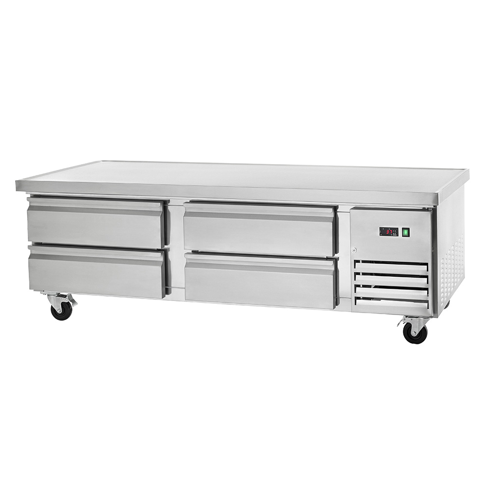 This Arctic Air ARCB72 refrigerated chef base combines commercial foodservice grade performance with exceptional value. The ARCB72 refrigerated chef base features a smooth stainless steel exterior suitable for any commercial kitchen. The 74-inch wide stainless steel top is insulated, eliminating heat transfer from equipment stored on top to the interior of the cabinet. The top has a marine edge to contain spills. The Arctic Air ARCB72 chef base has four drawers with stainless steel facings, linings and frames and each door features removable magnetic gaskets for sanitation purposes. The Arctic Air ARCB72 refrigerated chef base features a self-contained capillary tube system that uses environmentally friendly CFC refrigerant and a front-accessible condensing unit for easy cleaning and maintenance. The front breathing design allows for flexible installation options and its electrical thermostat has an easy to read external LED display for quick and easy temperature monitoring.