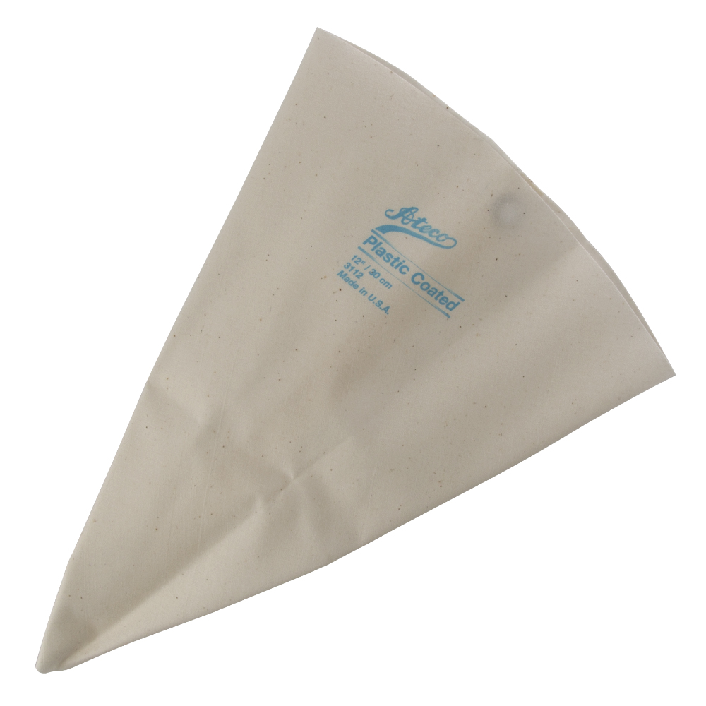 This Ateco USA 3112 12 Inch cake decorating bag is a reusable choice for icing cakes, pastries and other bakery items. The pastry bag is made of cloth and has a plastic lining to help icing and oilier food items pipe out smoothly. This pastry bag is easy to clean and features rustproof metal eyelets.