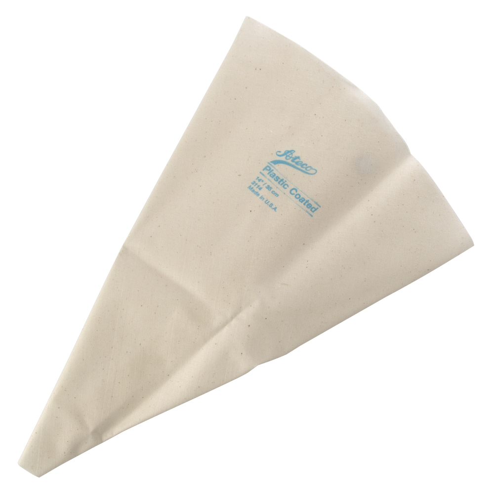 This Ateco USA 3114 14 Inch cake decorating bag is a reusable choice for icing cakes, pastries and other bakery items. The pastry bag is made of cloth and has a plastic lining to help icing and oilier food items pipe out smoothly. This pastry bag is easy to clean and features rustproof metal eyelets.
