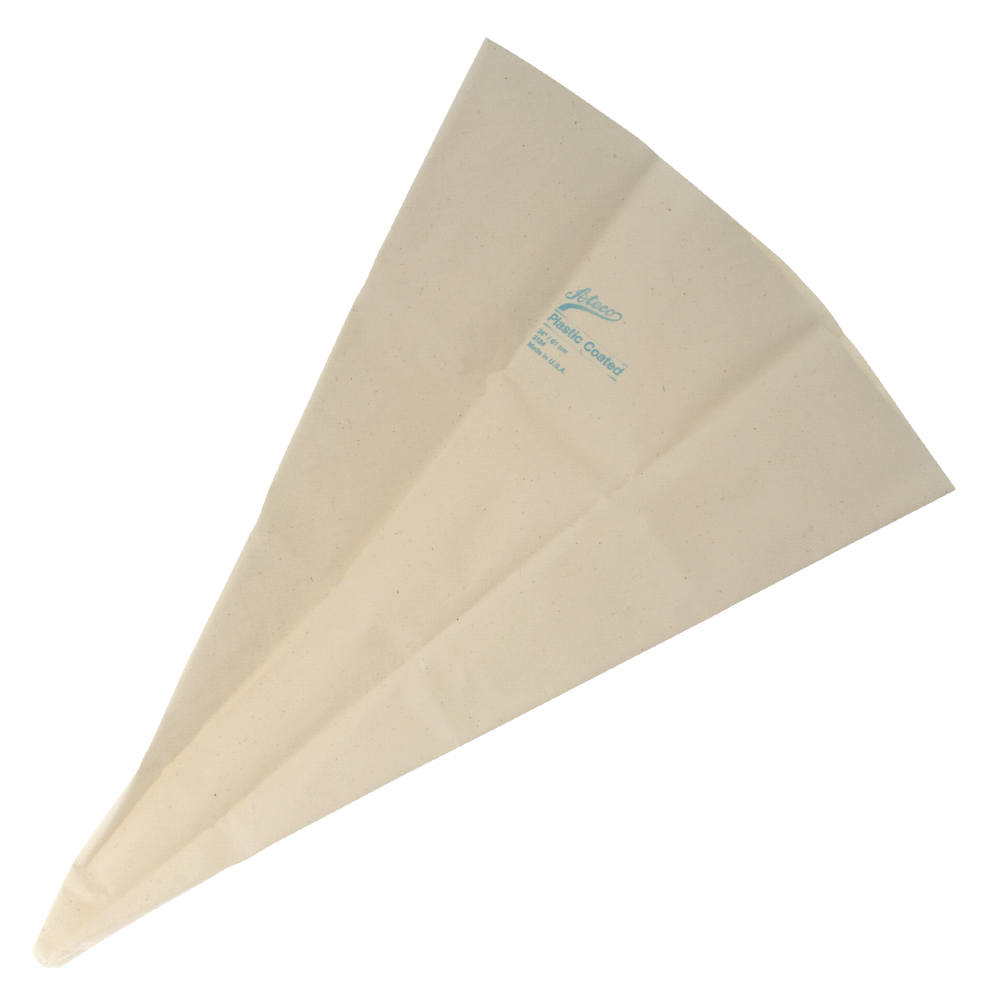 This Ateco USA 3124 24 Inch cake decorating bag is a reusable choice for icing cakes, pastries and other bakery items. The pastry bag is made of cloth and has a plastic lining to help icing and oilier food items pipe out smoothly. This pastry bag is easy to clean and features rustproof metal eyelets.