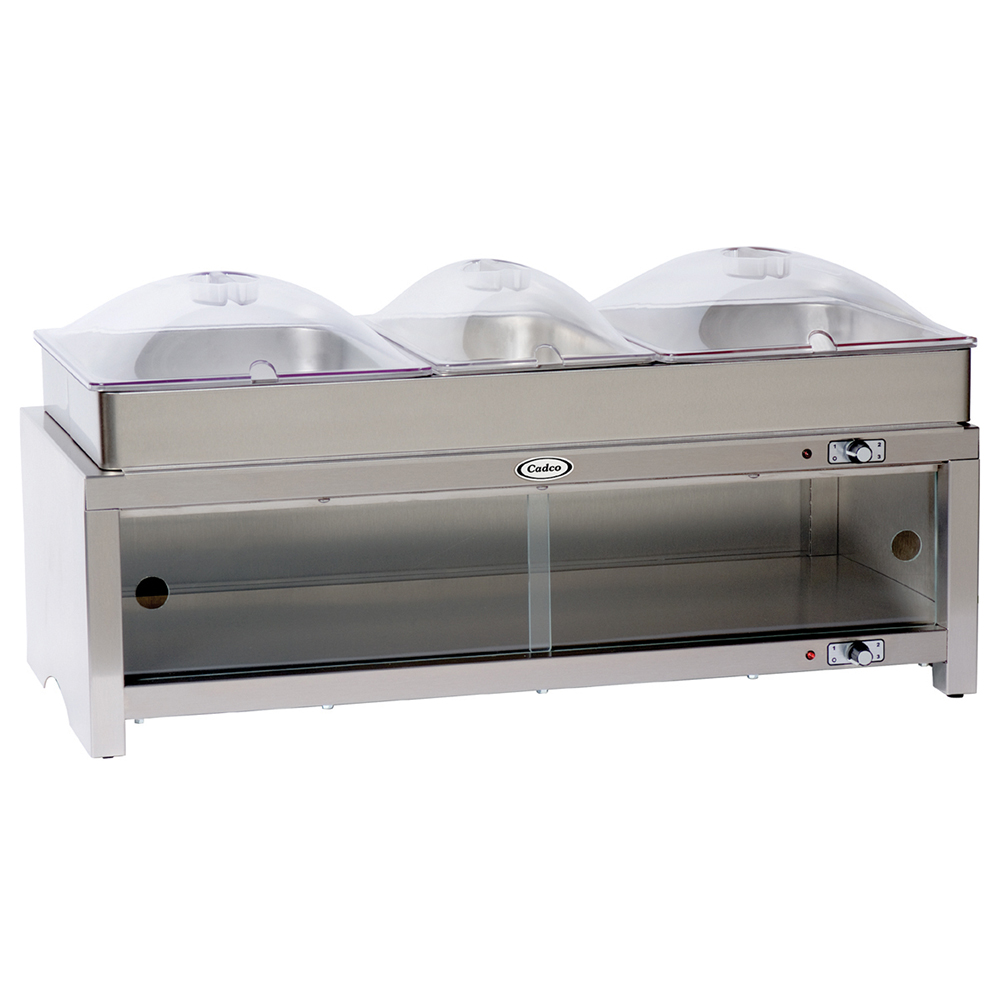 Cadco Countertop Warming Cabinet with Triple Heated Buffet Server Top and Clear Poly Lids - Part No. CMLB-CSLP