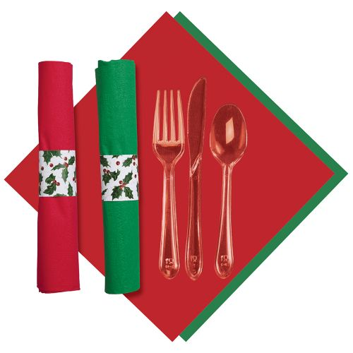 Holly Tissue CaterWrap Pre-Rolled Tissue Napkin and Cutlery, Green and Red, Case of 100