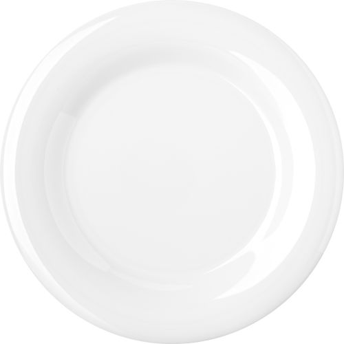Wide Rim Melamine Durus Ware White Dinner Plate 10-1/2 Inch, Case of 12