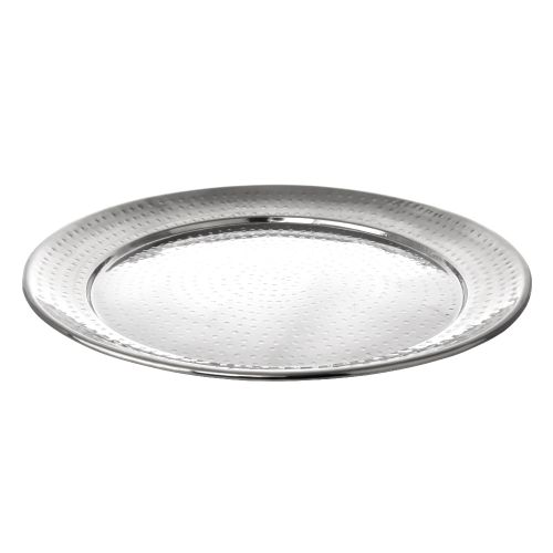 Hammered Stainless Steel Serving Tray, Round