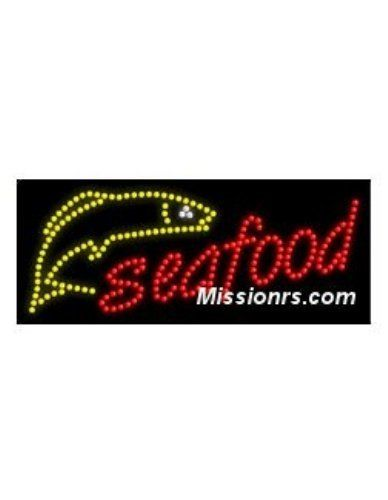 LED Sign, Seafood Sign, Red and Yellow
