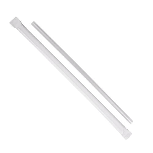 """Clear 7.75"""" Jumbo Paper Wrapped Straw (Pack of 500)"""