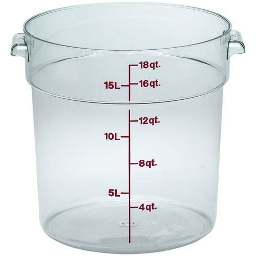 Round Food Storage Container, 18 Qt. Clear Poly