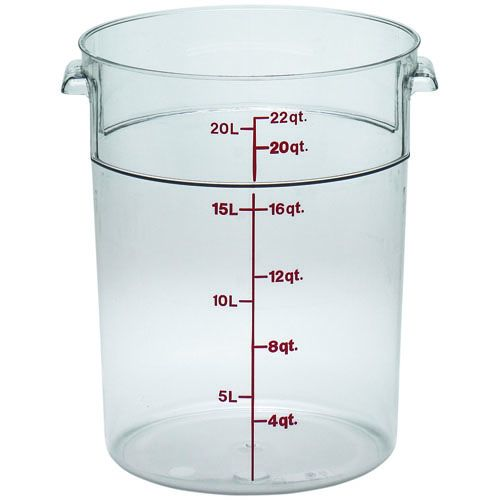 Round Food Storage Container, 22 Qt. Clear Poly