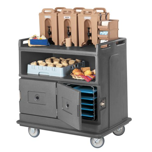 Beverage Service Cart, Recessed Top Holds (3) 1 Gallon Camtainers & Condiment Bins