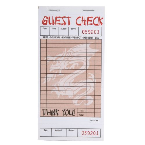 """Choice GC5011BK Single Detachable Asian Themed Guest Check - 3.4"""" x 6.75"""" (Pack of 10)"""