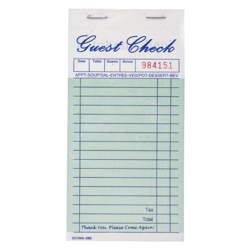 2-Part Green Carbonless Guest Check Books (10/Pack)