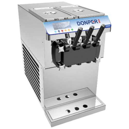 Donper D200 Countertop Soft Serve Machine - Two Flavors with Twist (Up To 21 Qts/Hr)