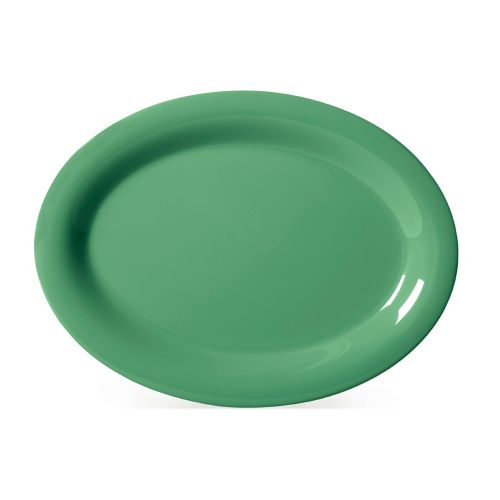 Diamond Mardi Gras 12 x 9 In Rainforest Green Oval Platter - 12/Case
