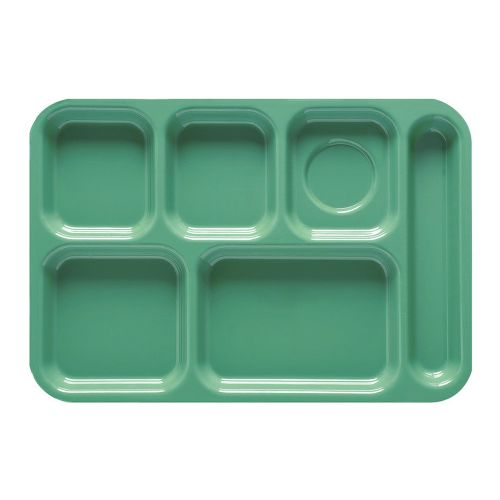 Rainforest Green 6 Compartment School Cafeteria Tray - 12/Case