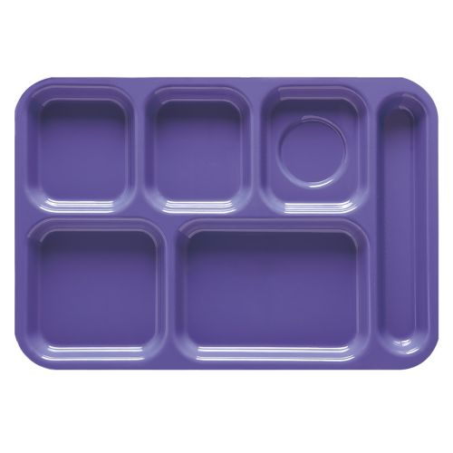 Peacock Blue 6 Compartment School Cafeteria Tray - 12/Case
