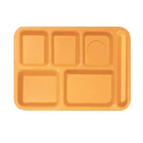 Tropical Yellow 6 Compartment School Cafeteria Tray - 12/Case