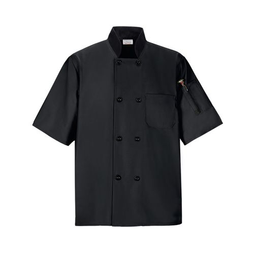 COAT CHEF LIGHTWT BLACK XL