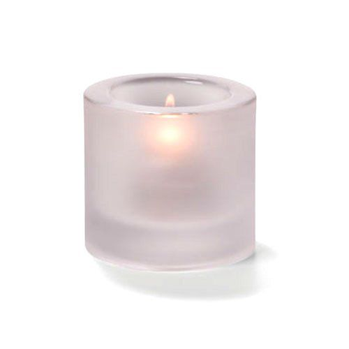 Tealight Lamp, Thick Glass, Round, Satin Crystal