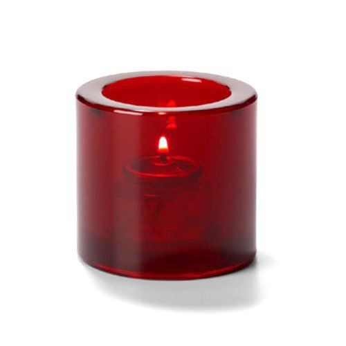 Tealight Lamp, Thick Glass, Round, Ruby