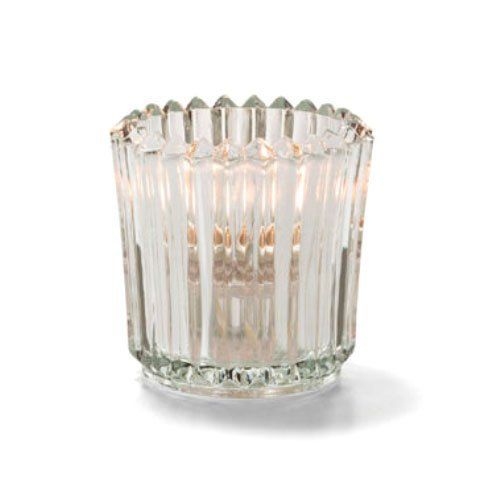 Tealight Lamp, Ribbed Style, Glass, Clear