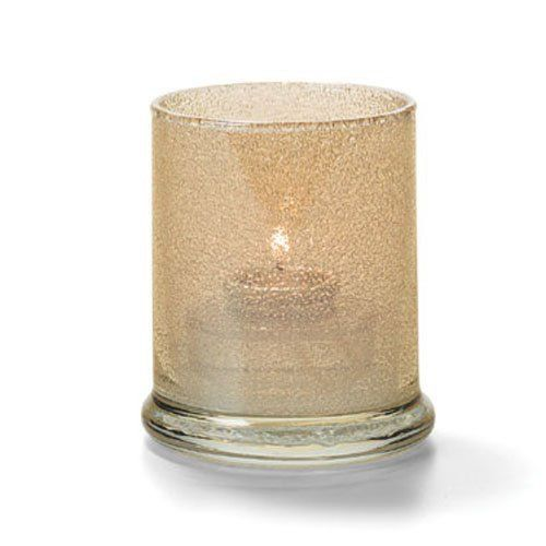 Votive Lamp, Cylinder Style, Glass, Champagne Jewel, 3-9/16 H x 3 Inch Diameter