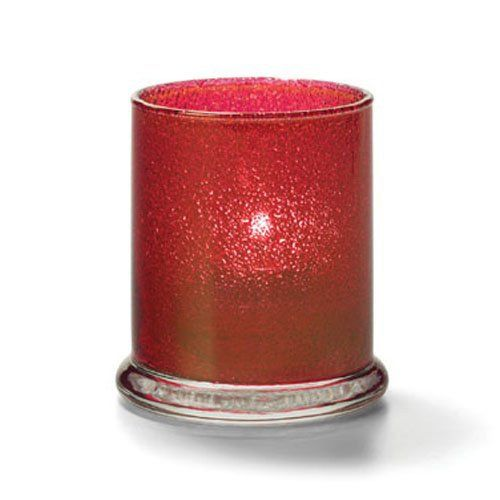 Votive Lamp, Cylinder Style, Glass, Ruby Jewel, 3-9/16 H x 3 Inch Diameter