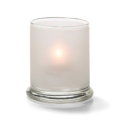 Votive Lamp, Cylinder Style, Glass, Satin Crystal, 3-9/16 H x 3 Inch Diameter