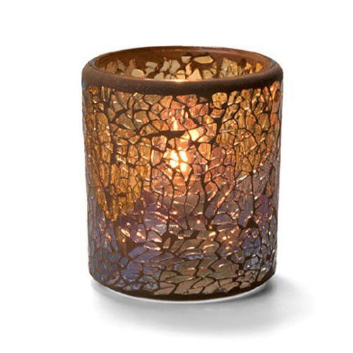 Crackle Votive Lamp, Glass, Gold, 3-1/4H x 3 Inch Diameter