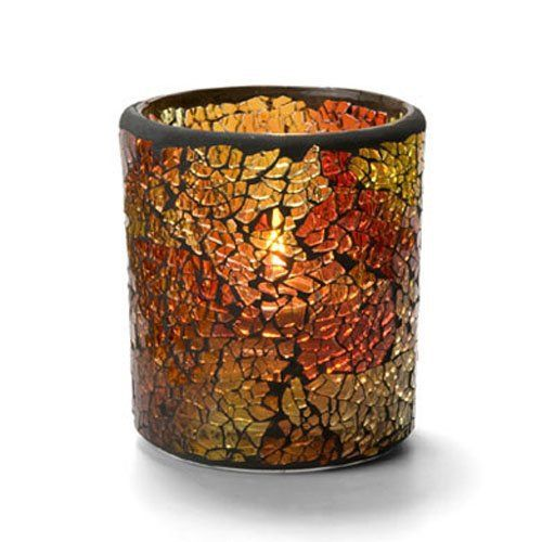 Crackle Votive Lamp, Glass, Red and Gold, 3-1/4H x 3 Inch Diameter
